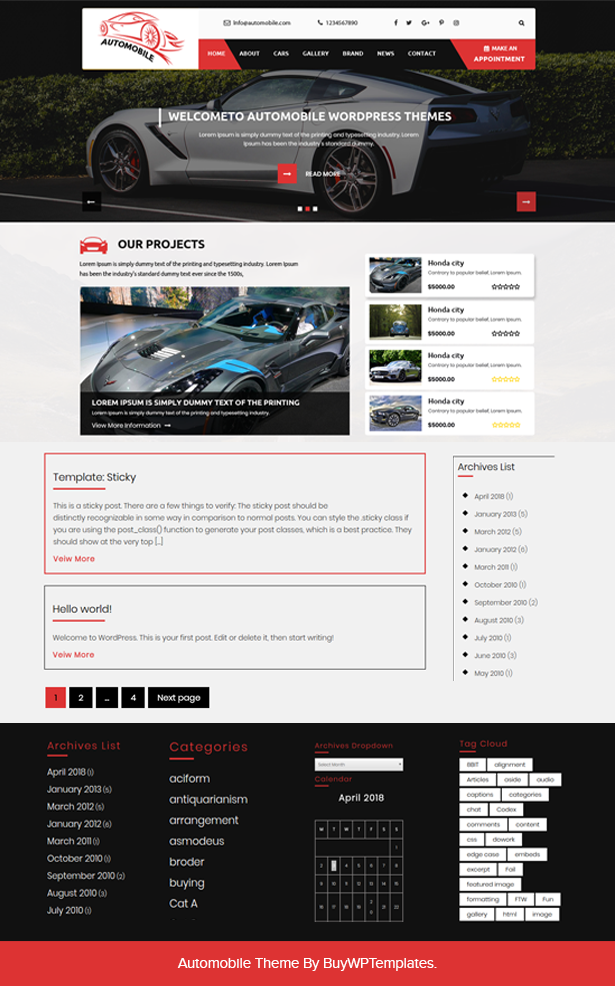 Best Free Car Dealer Wordpress Theme Available On The Internet