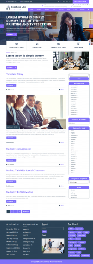 Free Coaching WordPress Template