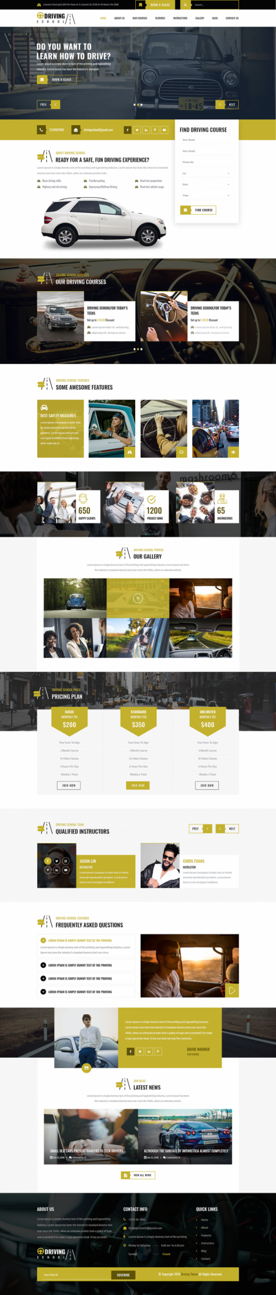 Driving School WordPress Template