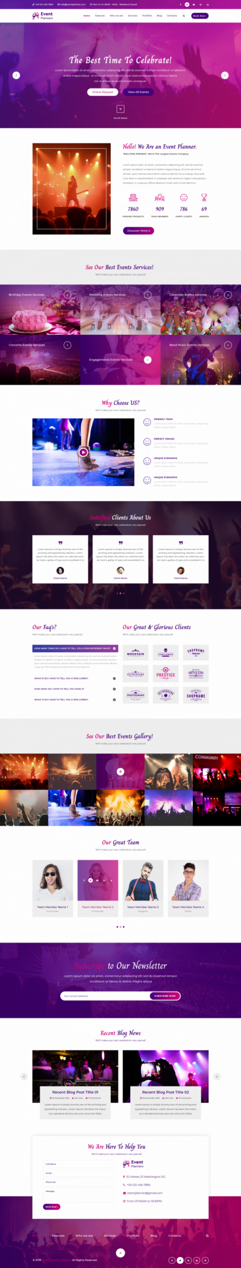 Event Planner WordPress Template