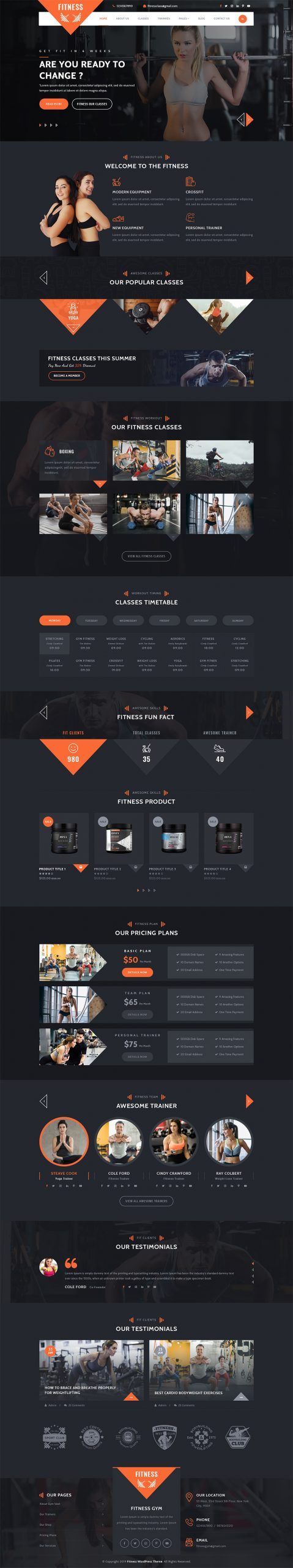 Fitness WordPress Template