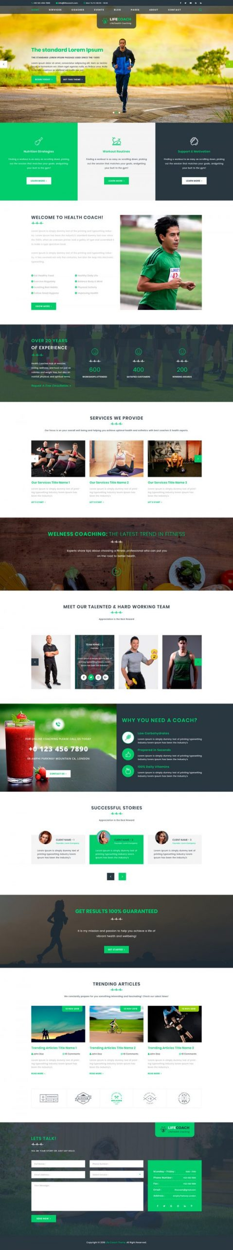 Health Coach WordPress Template
