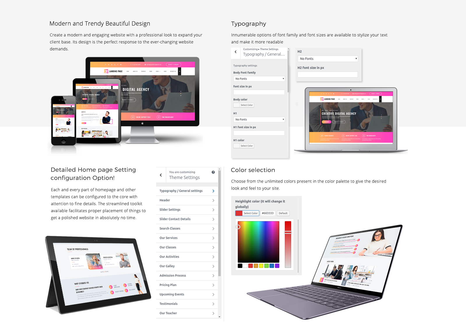 Landing Page WordPress Template Responsive