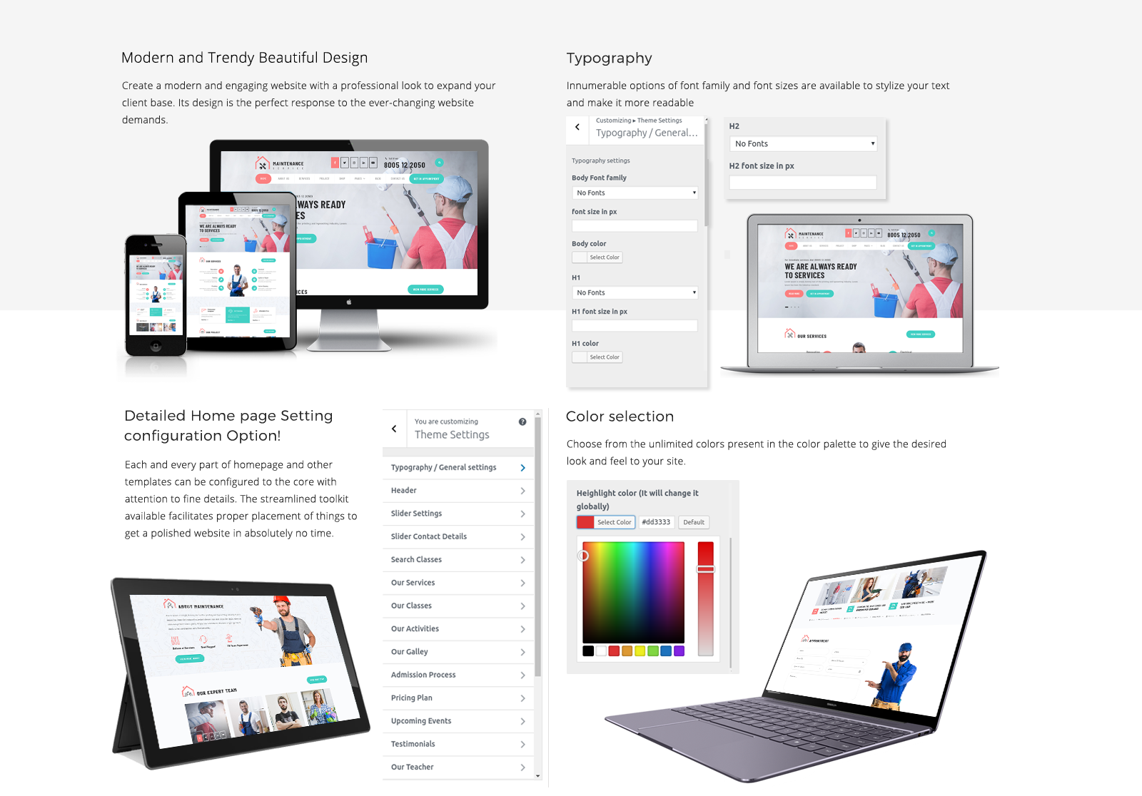 Maintenance WordPress Template Responsive