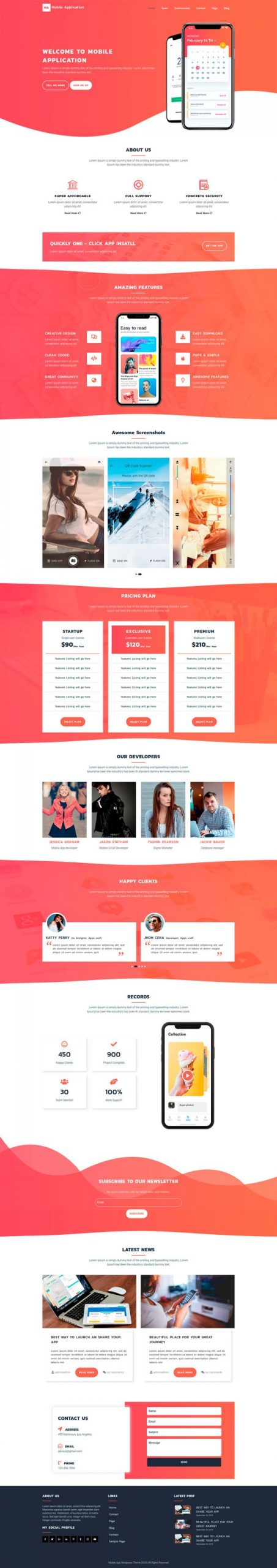 Mobile App WordPress Template