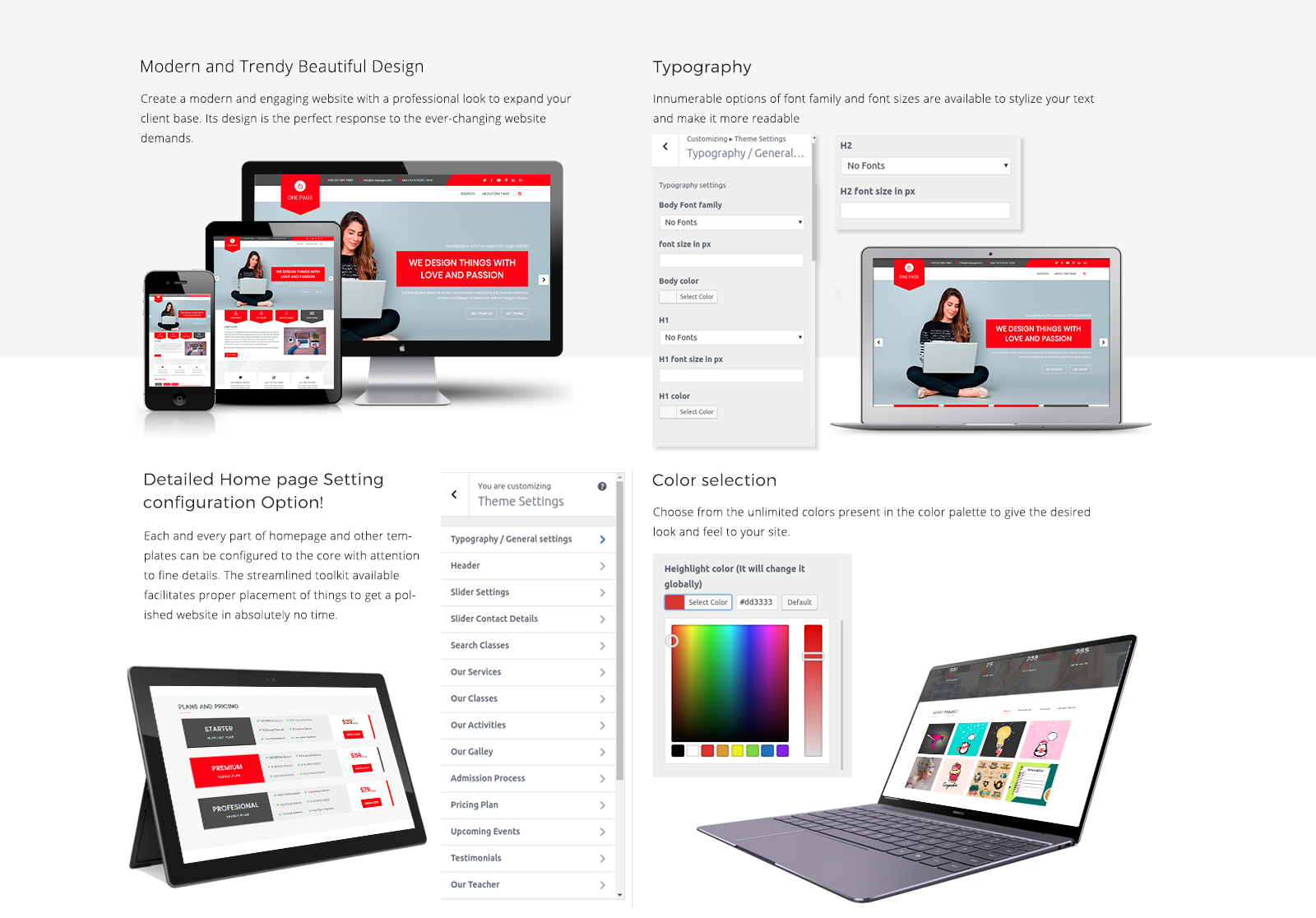 One Page WordPress Template Responsive