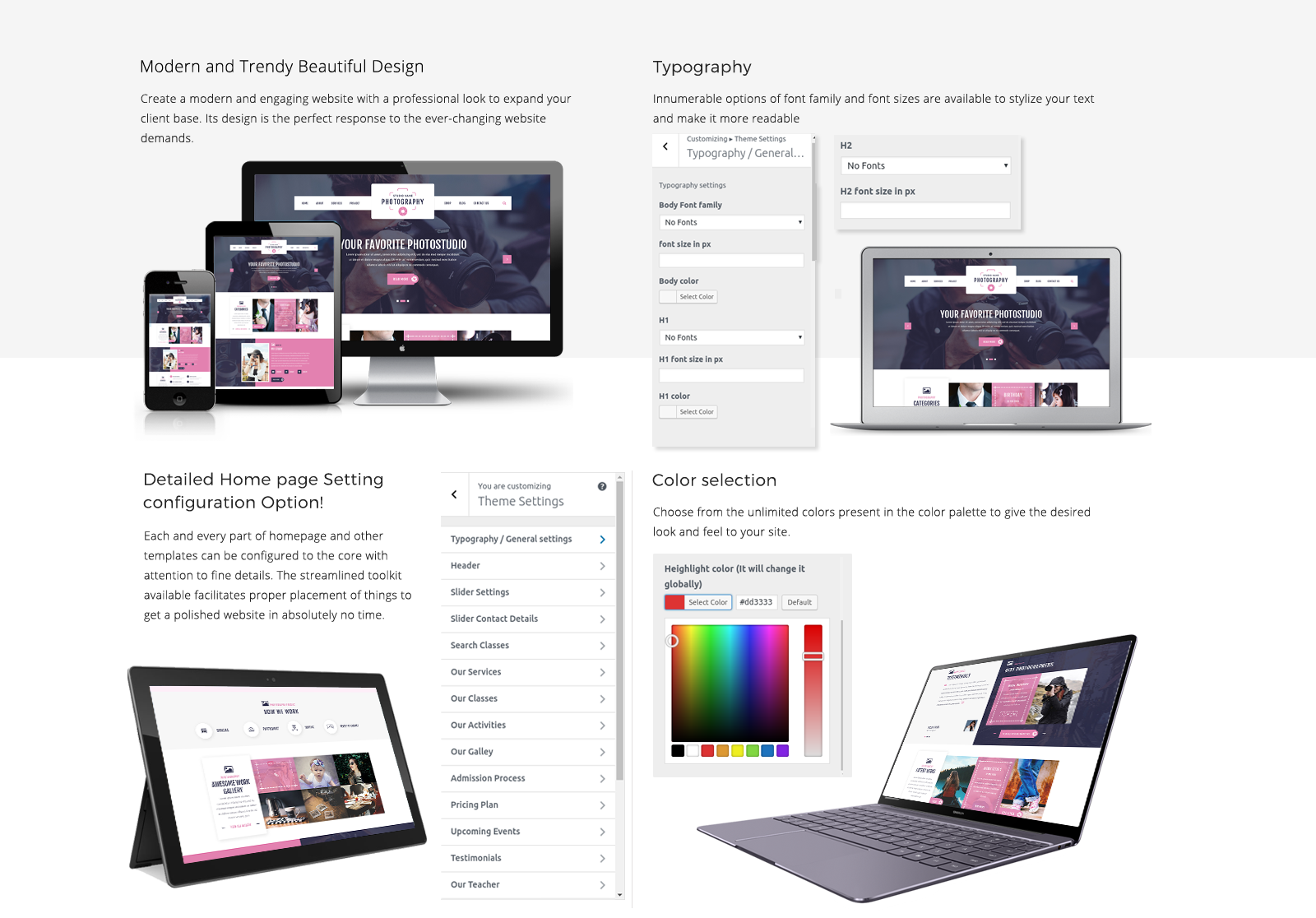 Photography WordPress Template Responsive