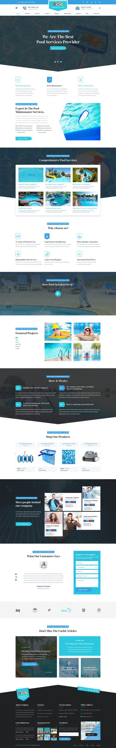 Pool Servcive WordPress Template