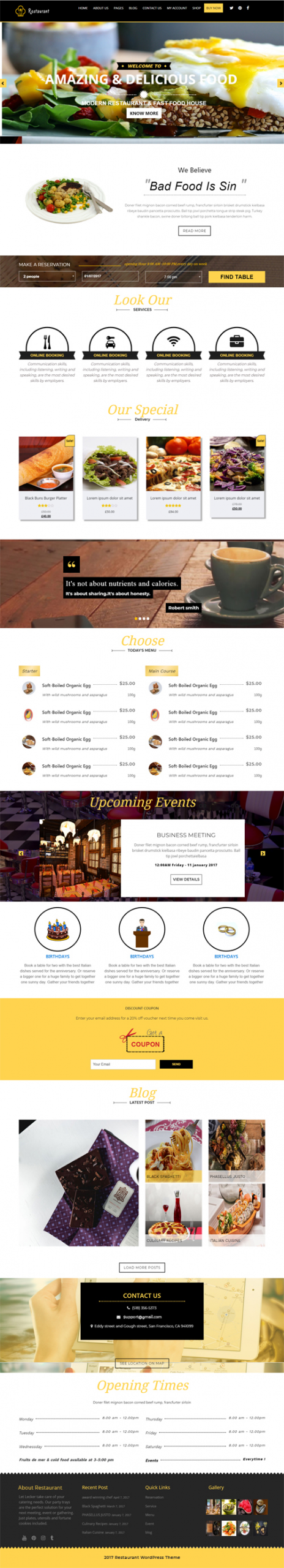 Restaurant WordPress Template