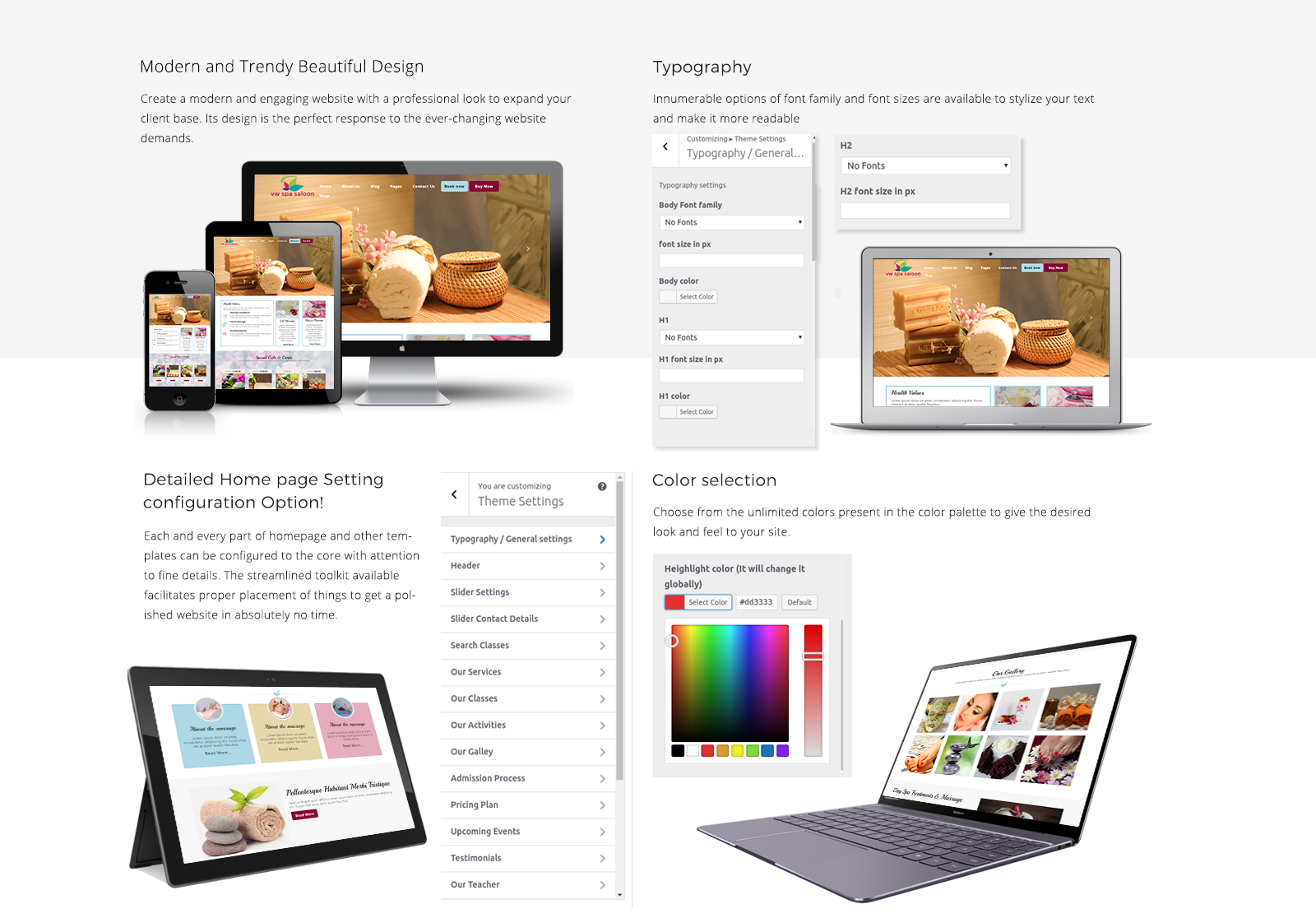 Spa WordPress Template Responsive